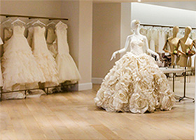 Clothing racks of bridal dresses