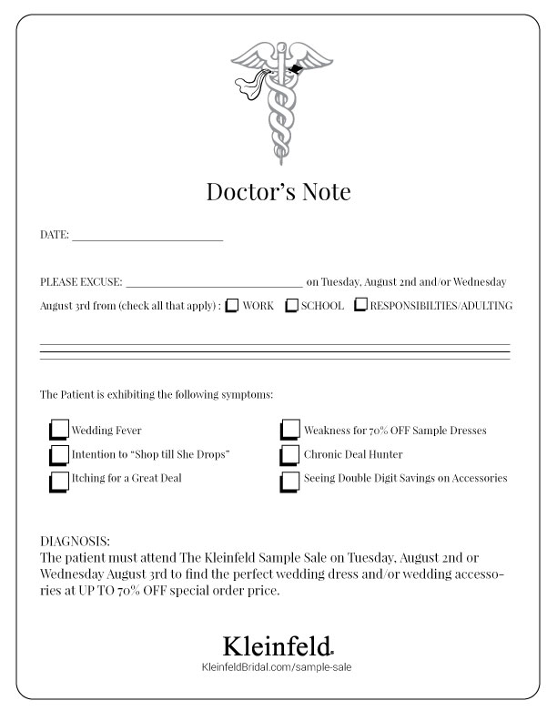 Sample Sale Doctors Note – Doctors Note