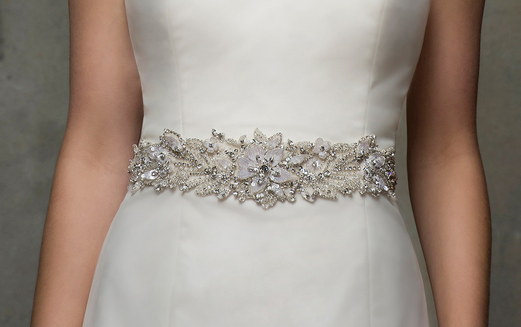 bride in dress with accessory belt