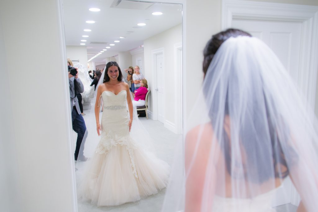 bride in mermaid gown at sample studio