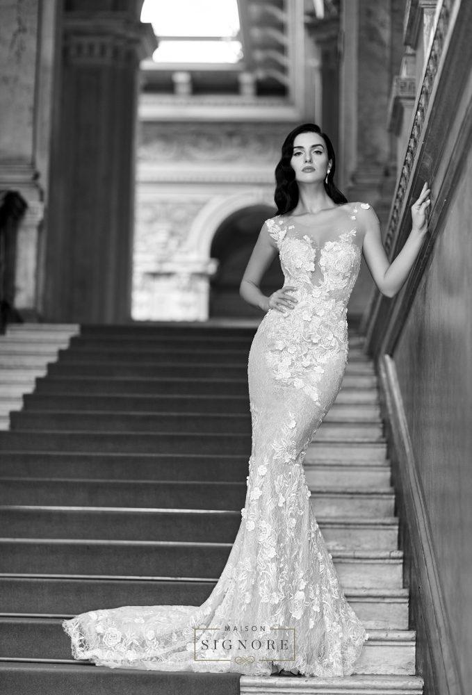 bride in Mason Signore dress