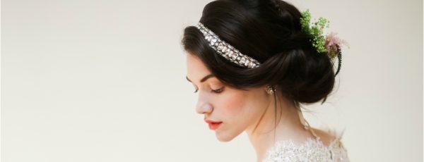 bride in Meg Jewelry head piece