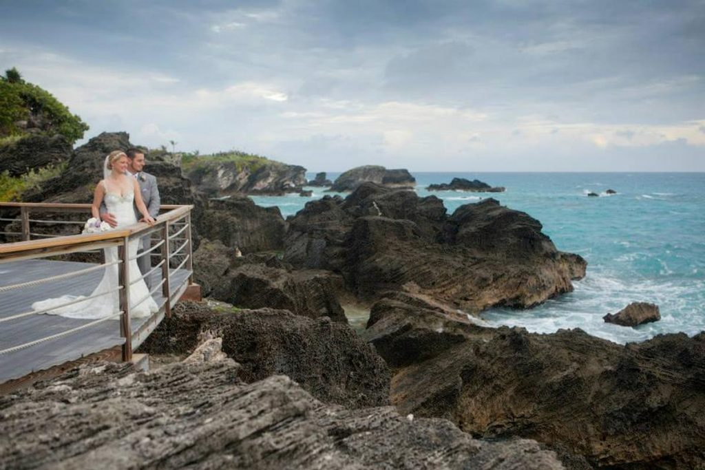 Alicia and Sean bride and groom on pier