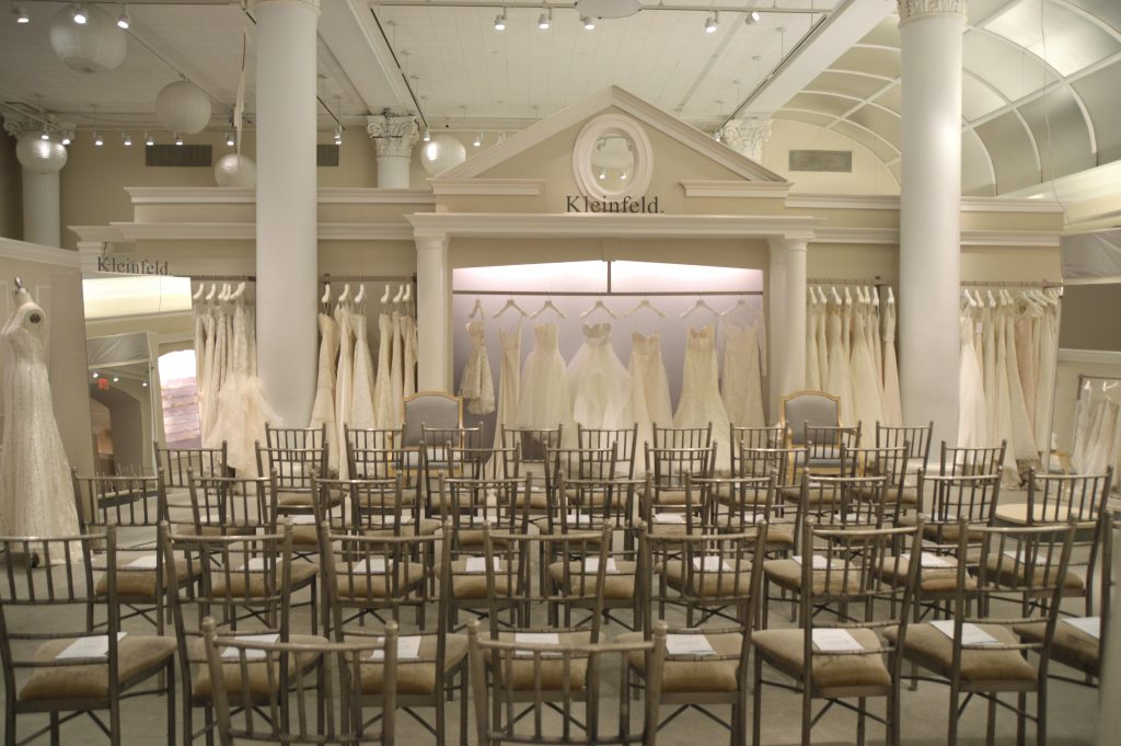 kleinfeld staff meeting in bridal salon
