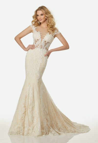 Modern Fit and Flare Wedding Dress by Randy Fenoli