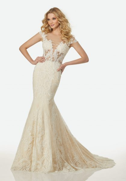 Modern Fit and Flare Wedding Dress by Randy Fenoli - Image 1