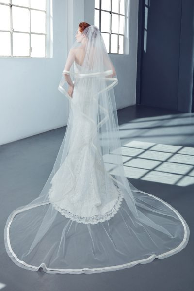 Cathedral Bridal Veil in Tulle by Peter Langner Accessories - Image 1
