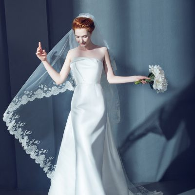 Cathedral Bridal Veil in Tulle with Lace by Peter Langner Accessories