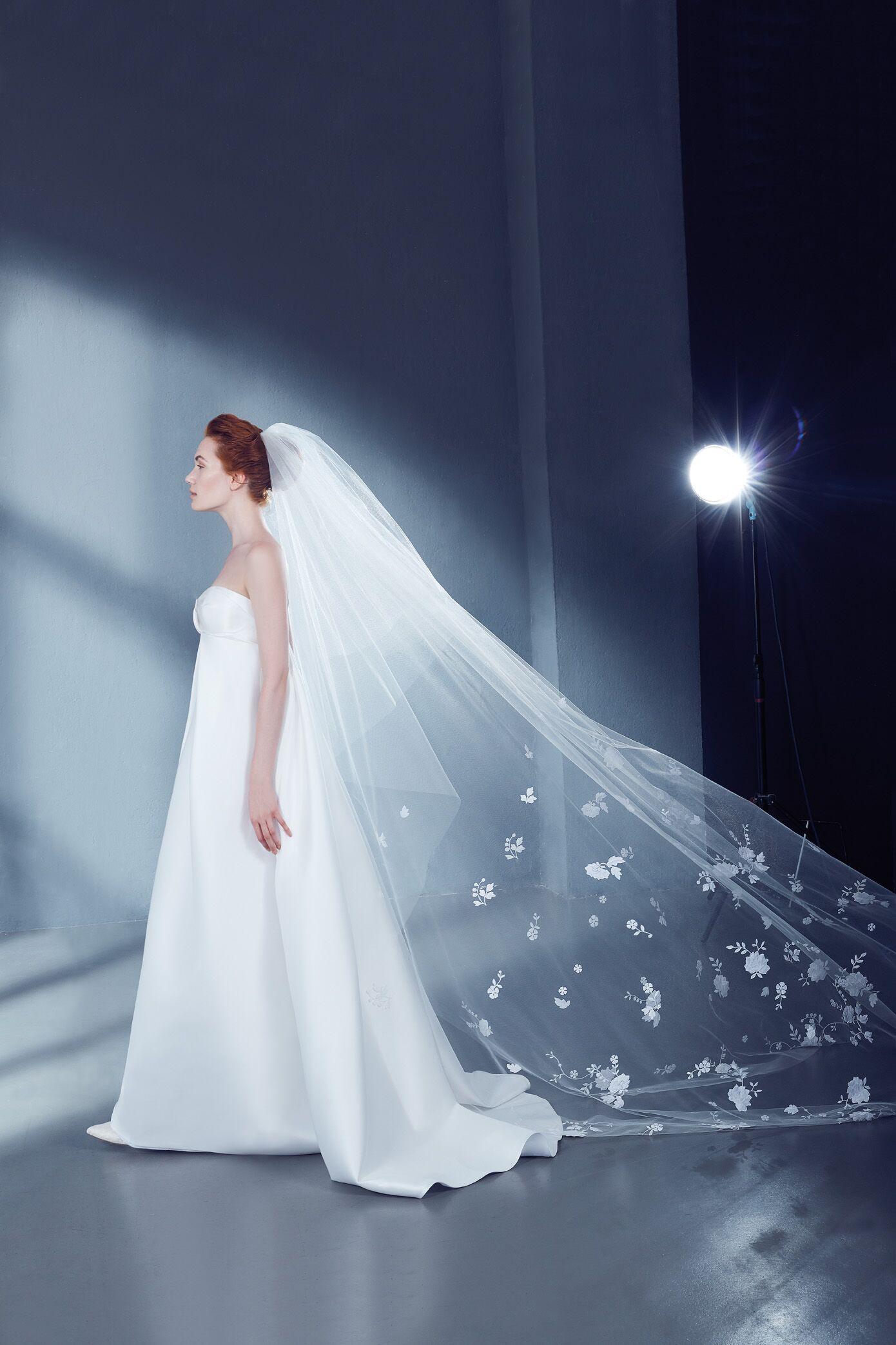 Cathedral Bridal Veil in Tulle with Floral Lace | Kleinfeld Bridal