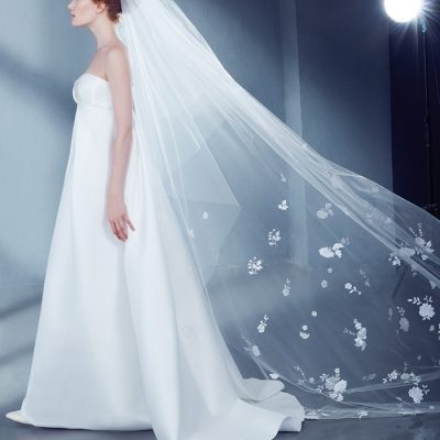 Cathedral Bridal Veil in Tulle with Floral Lace by Peter Langner Accessories