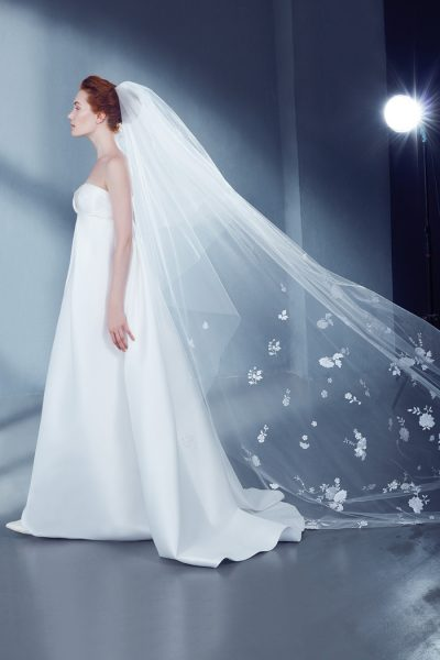 Cathedral Bridal Veil in Tulle with Floral Lace by Peter Langner Accessories - Image 1