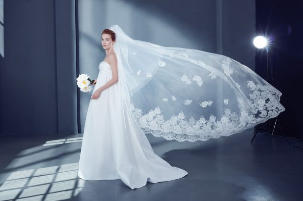 Cathedral Bridal Veil in Tulle with Lace by Peter Langner Accessories - Image 1
