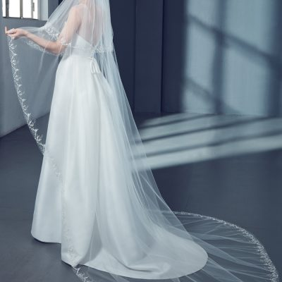 Cathedral Floral Bridal Veil in Tulle by Peter Langner Accessories