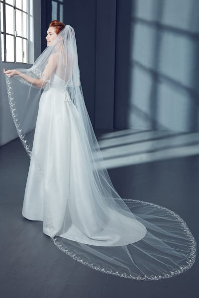 Cathedral Floral Bridal Veil in Tulle by Peter Langner Accessories - Image 1