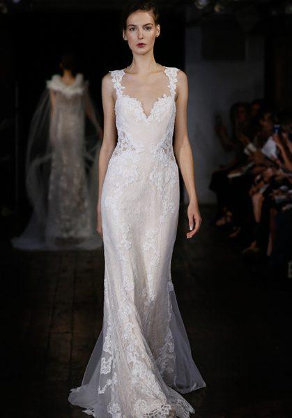 Classic sheath wedding dress kleinfeld bridal sheath sleeveless tulle wedding dress junglespirit Choice Image