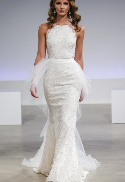 Modern Fit And Flare Wedding Dress by Anne Barge