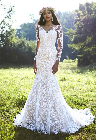 Bohemian Fit And Flare Wedding Dress by Ashley & Justin
