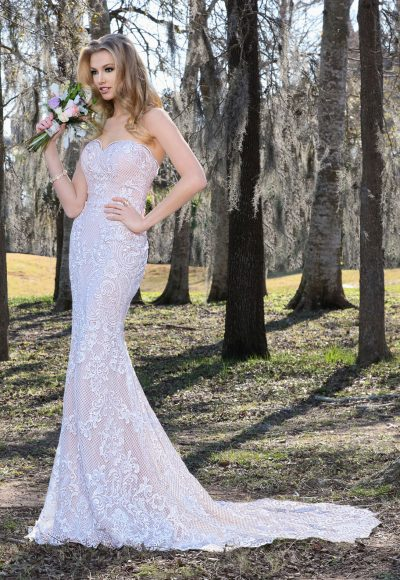 Modern Fit And Flare Wedding Dress by Ashley & Justin