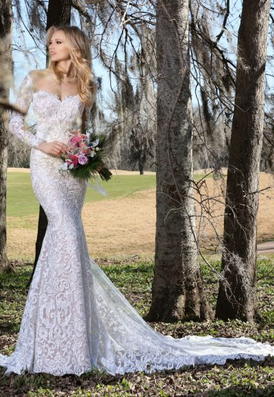 Romantic Fit And Flare Wedding Dress by Ashley & Justin