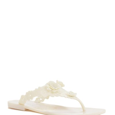 White Floral Design Sandals by Badgley Mischka