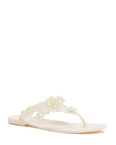 White Floral Design Sandals by Badgley Mischka - Image 1