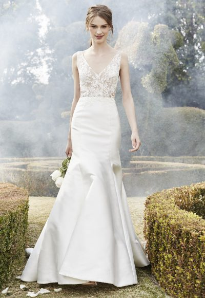 Sleek Fit And Flare Wedding Dress by Bliss by Monique Lhuillier