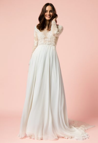 Long Sleeve Sheath Wedding Dress by Bliss by Monique Lhuillier