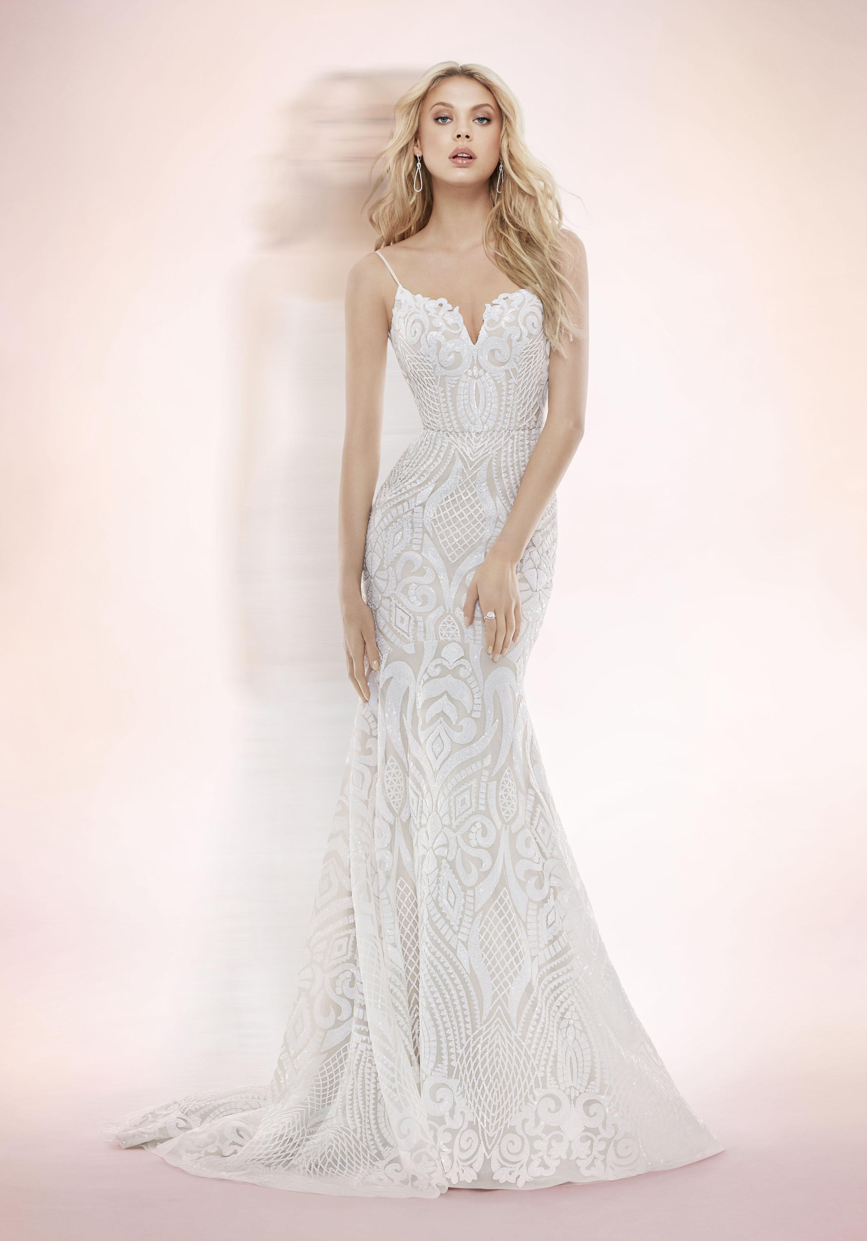 Modern fit and flare wedding dress kleinfeld bridal junglespirit Choice Image