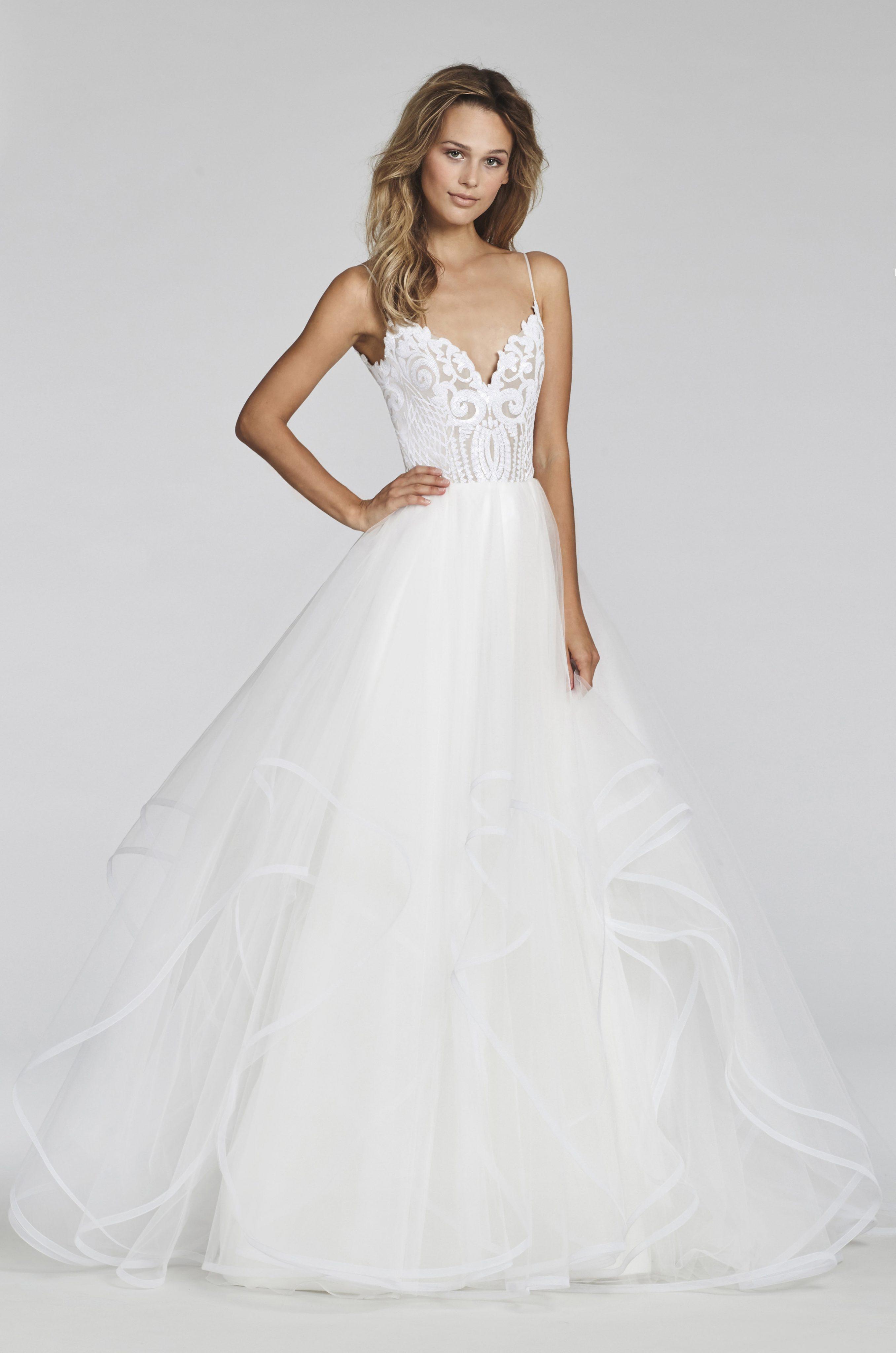 Spaghetti Strap Beaded Bodice Ball Gown Wedding Dress