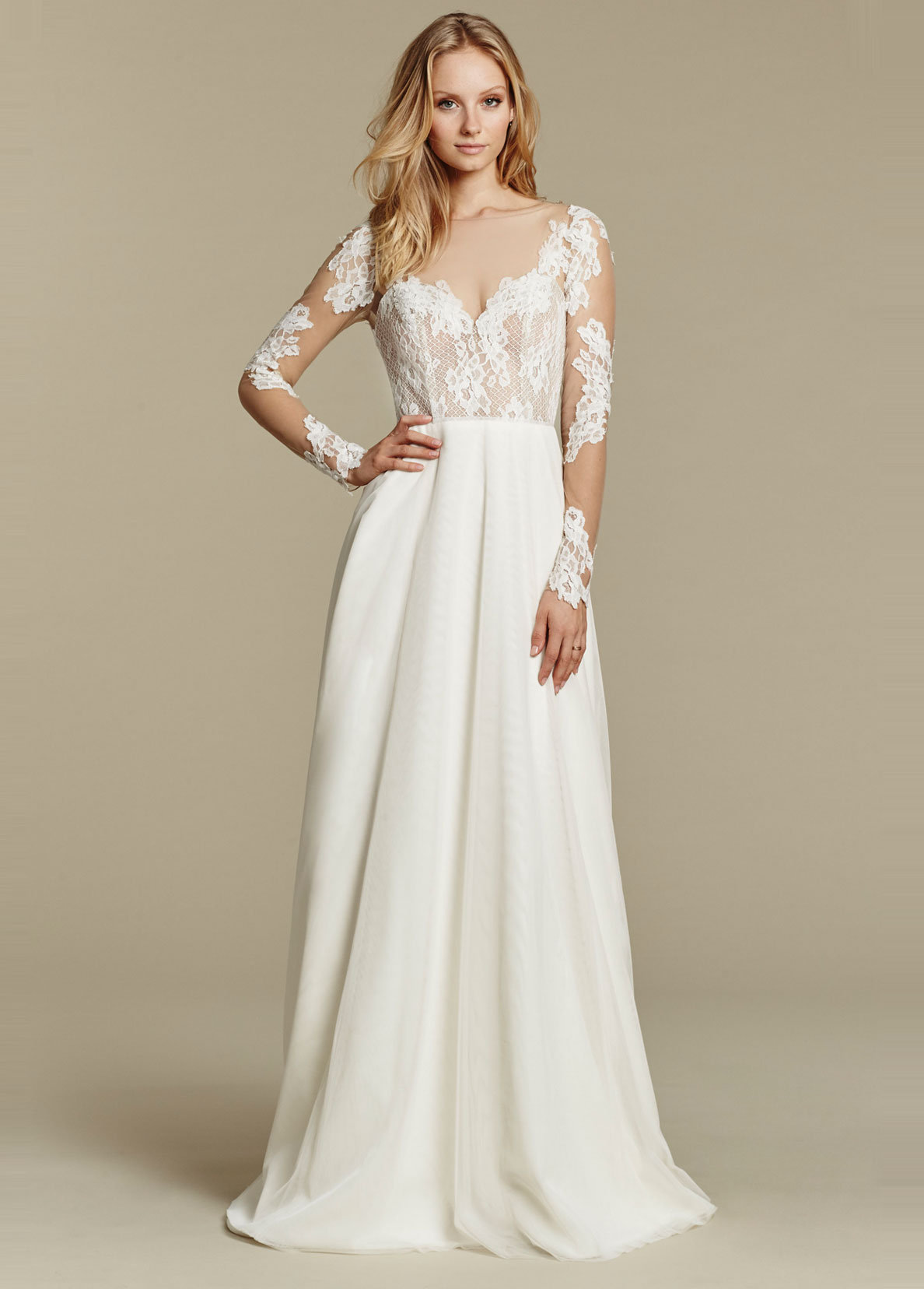 Simple Sheath Wedding Dress By Blush Hayley Paige Image 1 Zoomed In