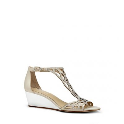 Gold Beaded Wedge Shoe by Camuto Group