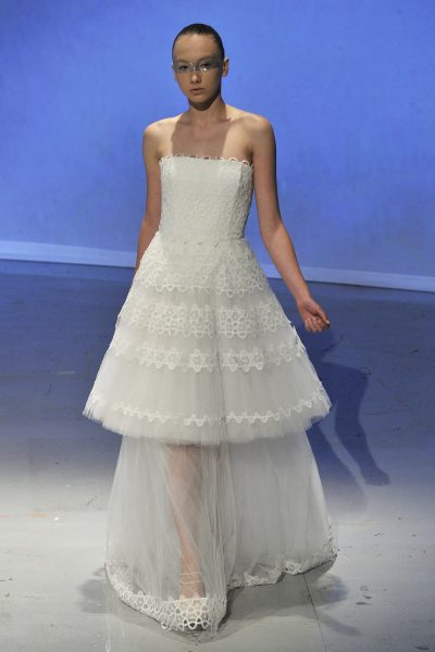 Tea length wedding dress kleinfeld bridal tea length embroidered lace wedding dress junglespirit Gallery