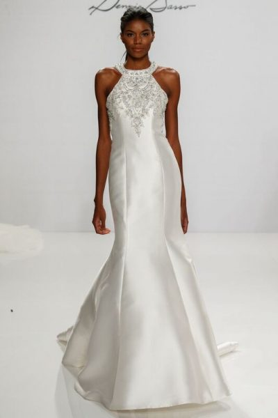Modern Fit And Flare Wedding Dress by Dennis Basso - Image 1