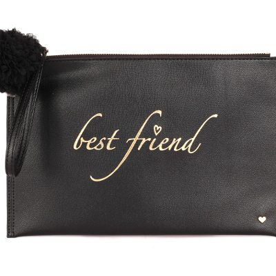 Black Leather Clutch Purse by Deux Lux