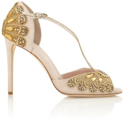 Blush Heels With Beaded Embroidery by Emmy London Shoes