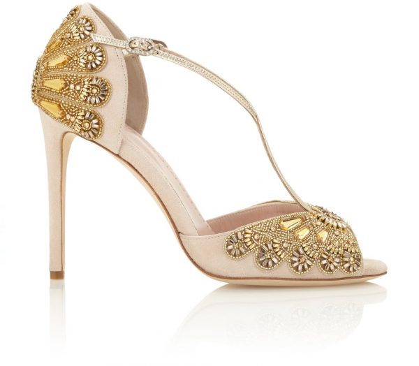 Blush Heels With Beaded Embroidery by Emmy London Shoes - Image 1