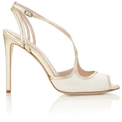 Ivory And Gold Strappy Heel by Emmy London Shoes