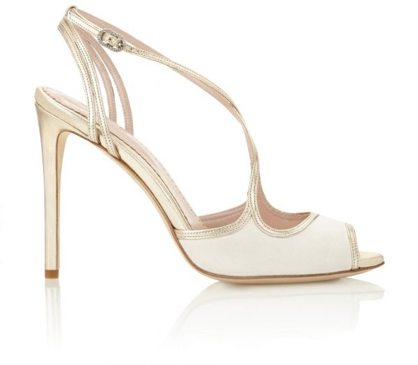 Ivory And Gold Strappy Heel by Emmy London Shoes - Image 1
