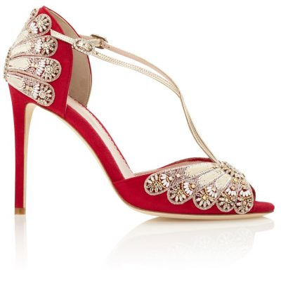 Lipstick Red Heels With Beaded Embroidery by Emmy London Shoes