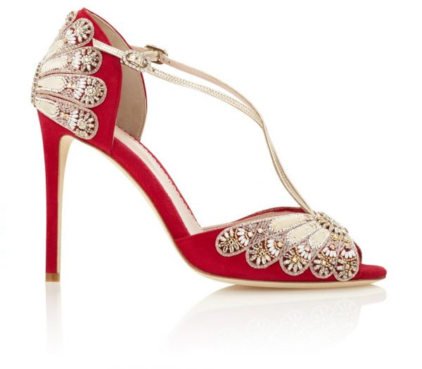 Lipstick Red Heels With Beaded Embroidery by Emmy London Shoes - Image 1