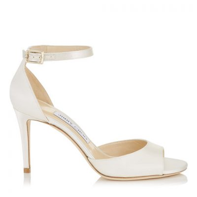 Matte Satin White Heel With Straps by Jimmy Choo