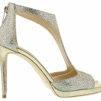 Silver And Gold Strappy High Heel Shoe by Jimmy Choo