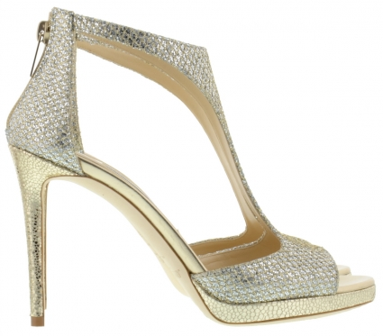 Silver And Gold Strappy High Heel Shoe by Jimmy Choo - Image 1