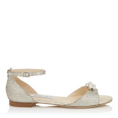 Silver Flat Shoe With Flower by Jimmy Choo