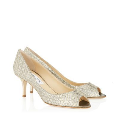 Silver Peeptoe Pump Shoe by Jimmy Choo