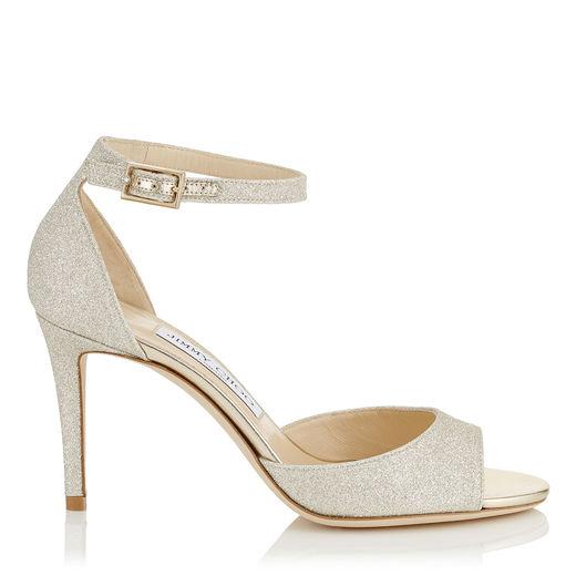 Strappy White Glitter Heel | Kleinfeld Bridal
