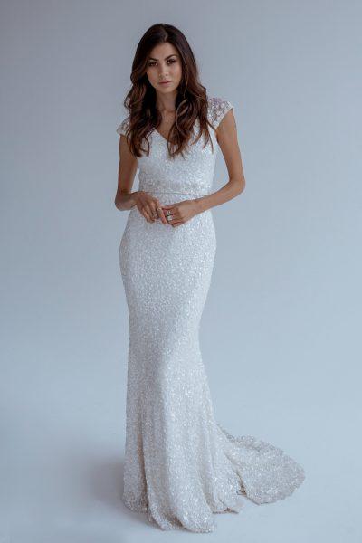 Trendy Sheath Wedding Dress by Karen Willis Holmes - Image 1