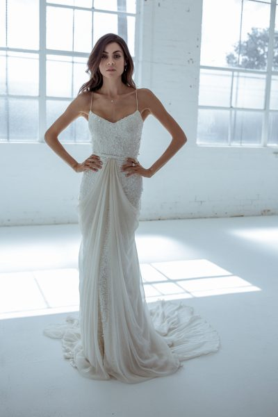 Trendy Sheath Wedding Dress by Karen Willis Holmes - Image 1