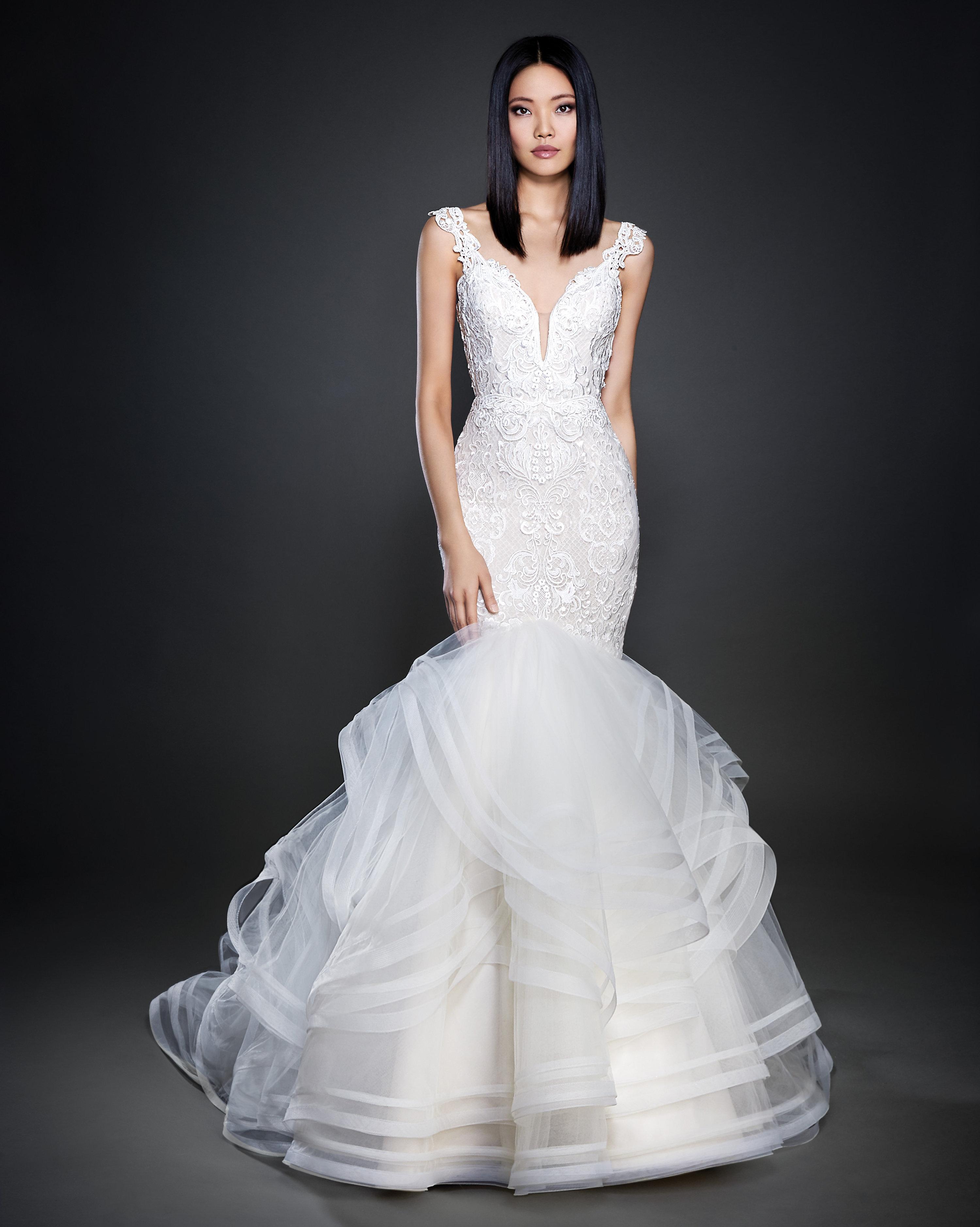 7853934a037 Lazaro Pink Floral Mermaid Wedding Dress - Gomes Weine AG