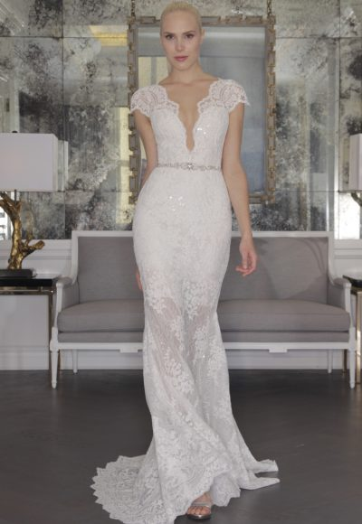 Romantic Sheath Wedding Dress by Romona Keveza Collection